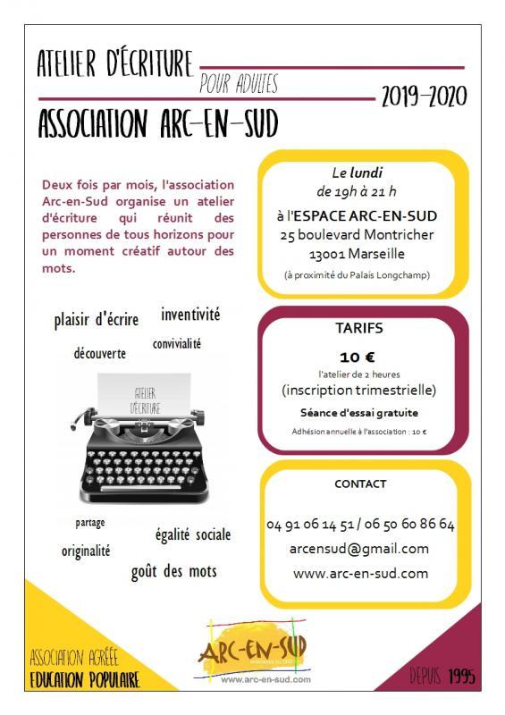 Affiche atelier d'écriture 19 20