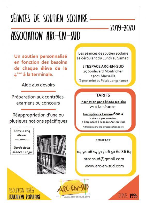 Affiche Séances de soutien scolaire 2019-2020