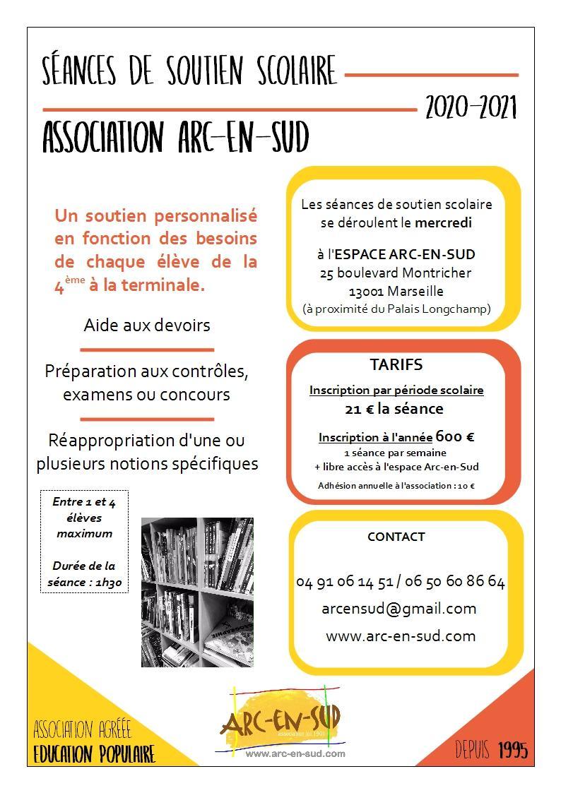 Affiche seances de soutien scolaire 20 21