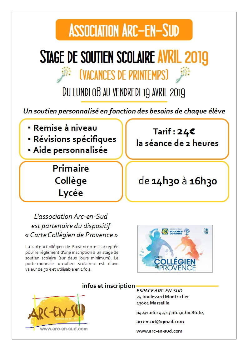 Affiche stage avril 2019