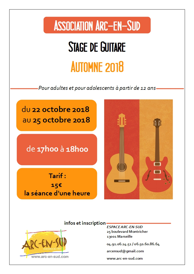Affiche stage guitare automne 2018