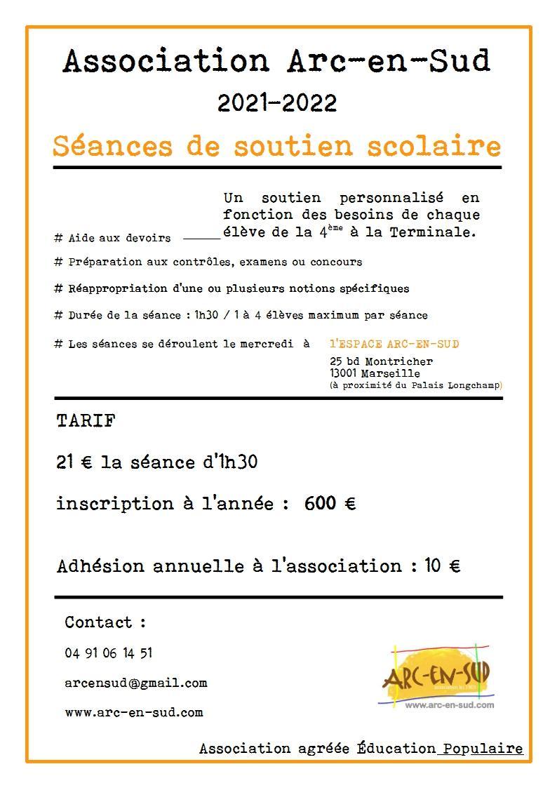 Brochure seances de soutien scolaire 2021 2022